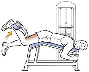 Line drawing of man doing hamstring curls on exercise machine. SOURCE: Original art. Used in 17A12036